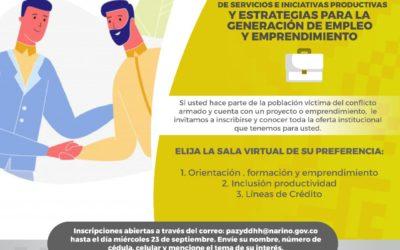 Primera feria virtual de servicios e iniciativas productivas para población víctima del conflicto en Nariño
