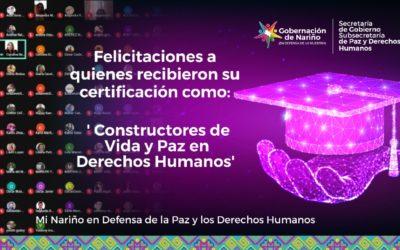 Hoy Nariño cuenta con nuevos 'Constructores de vida y paz en Derechos Humanos'