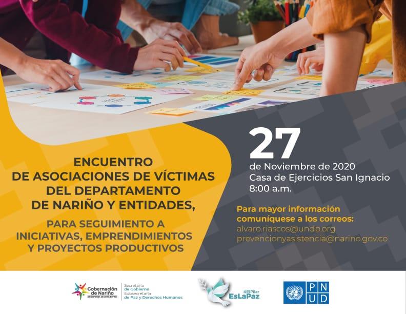 Gobernación de Nariño realizará seguimiento a iniciativas, emprendimientos y proyectos productivos de las asociaciones de víctimas del departamento de Nariño