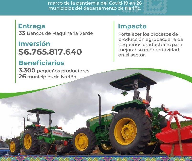 Se entregarán 33 bancos de maquinaria verde que beneficiarán a más de 3.300 pequeños productores de Nariño
