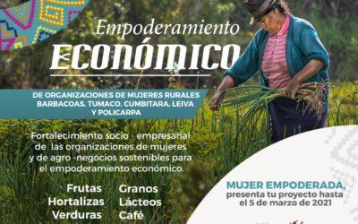 Abierta convocatoria para el Proyecto 'Empoderamiento Económico de Organizaciones de Mujeres Rurales'