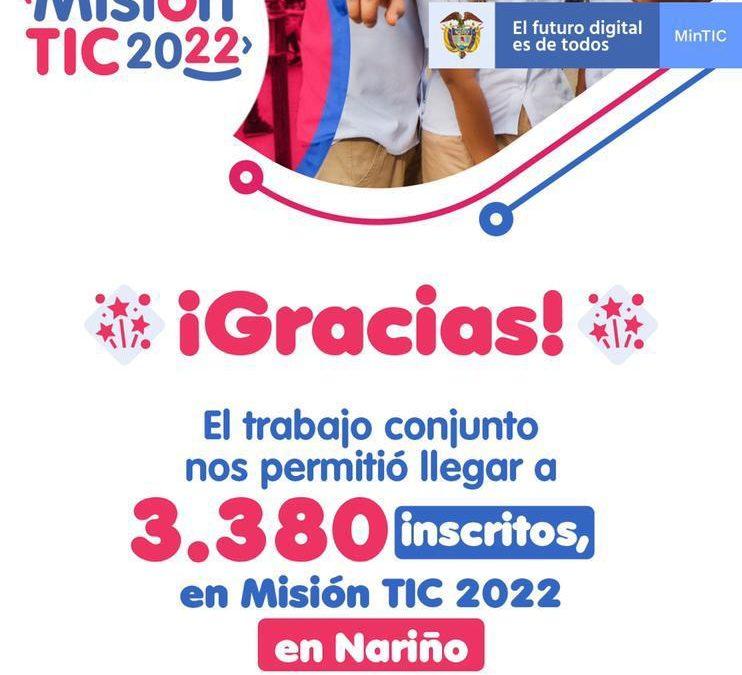 3.380 nariñenses están inscritos en 'Misión TIC 2022'