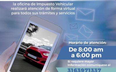 Por el día de mañana los trámites y servicios de la oficina de impuesto vehicular se realizarán de forma virtual