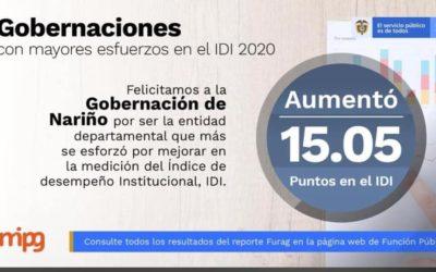Nariño se destaca en la medición del desempeño institucional de las entidades del orden nacional y territorial, vigencia 2020