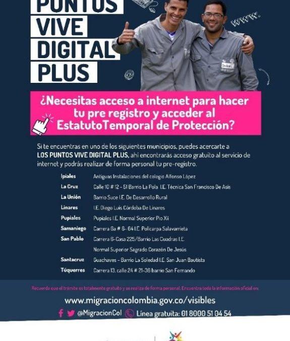 Nariño, único departamento en el país en disponer de los puntos vive digital para atención a migrantes