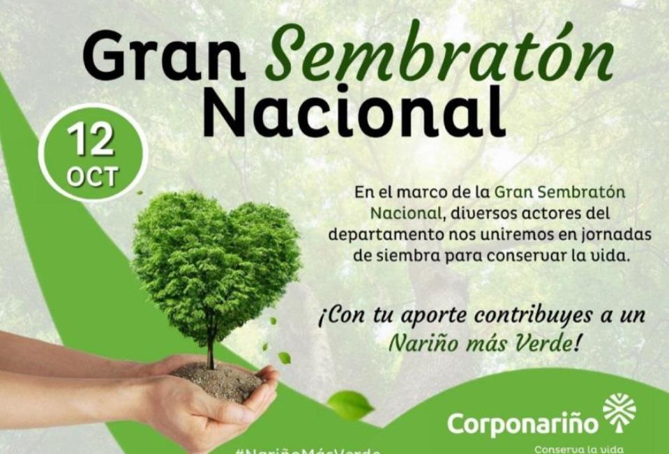 Gobernación de Nariño se une a la Gran Sembratón Nacional este 12 de octubre